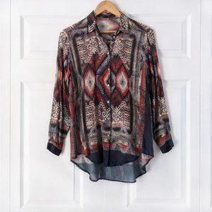 Zara Aztec Print Semi Sheer Wool Blend Blouse   M